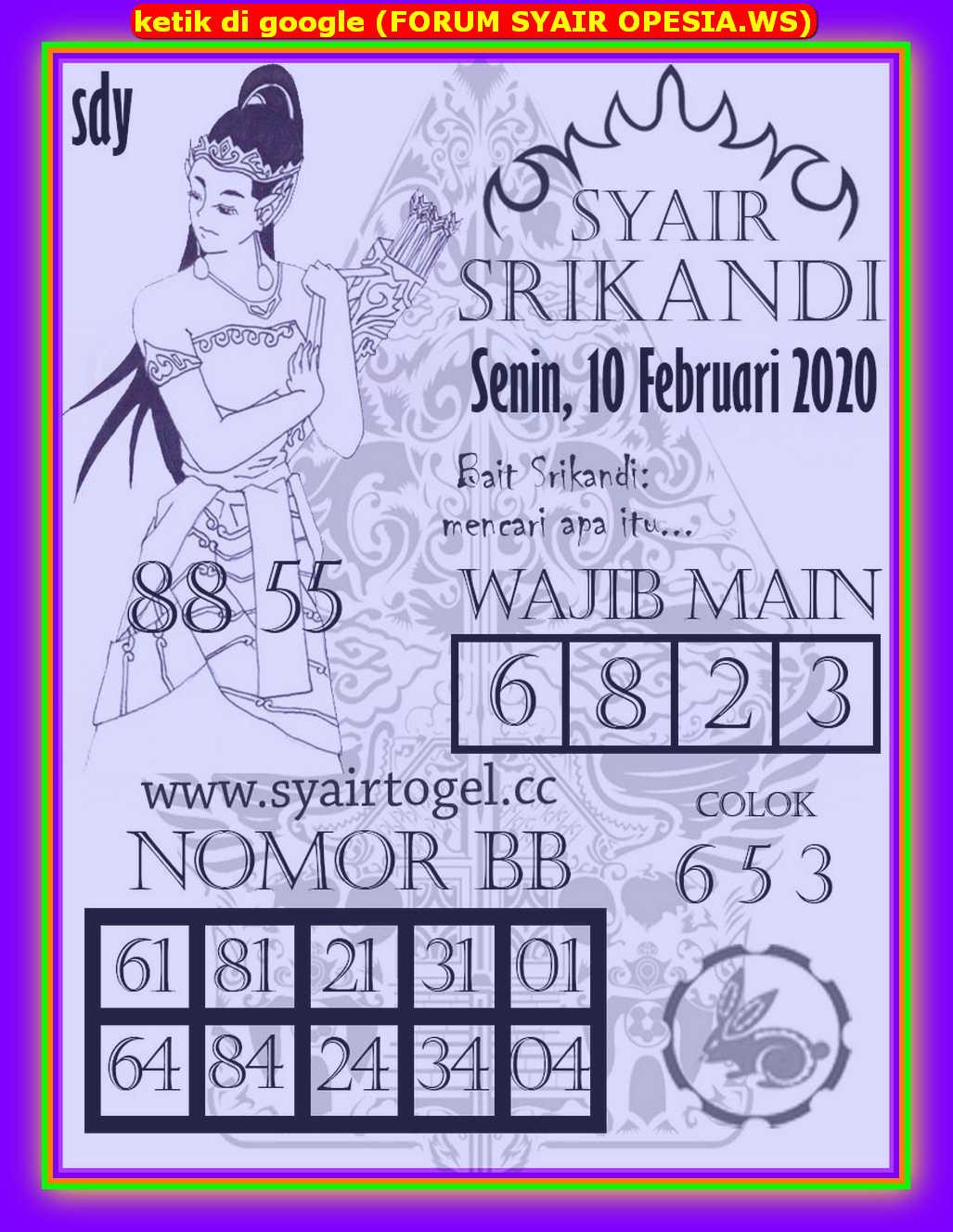 Kode syair Sydney Senin 10 Februari 2020 135
