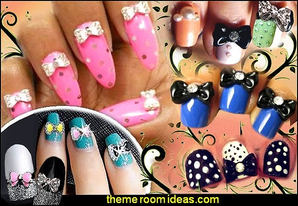 Bow Tie Butterfly Rhinestone Nail Art Stickers Decoration