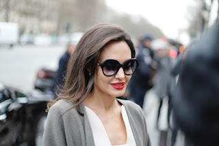 Angelina Jolie Arrives At Guerlain Perfumes Shop On Champs Elysees In Paris