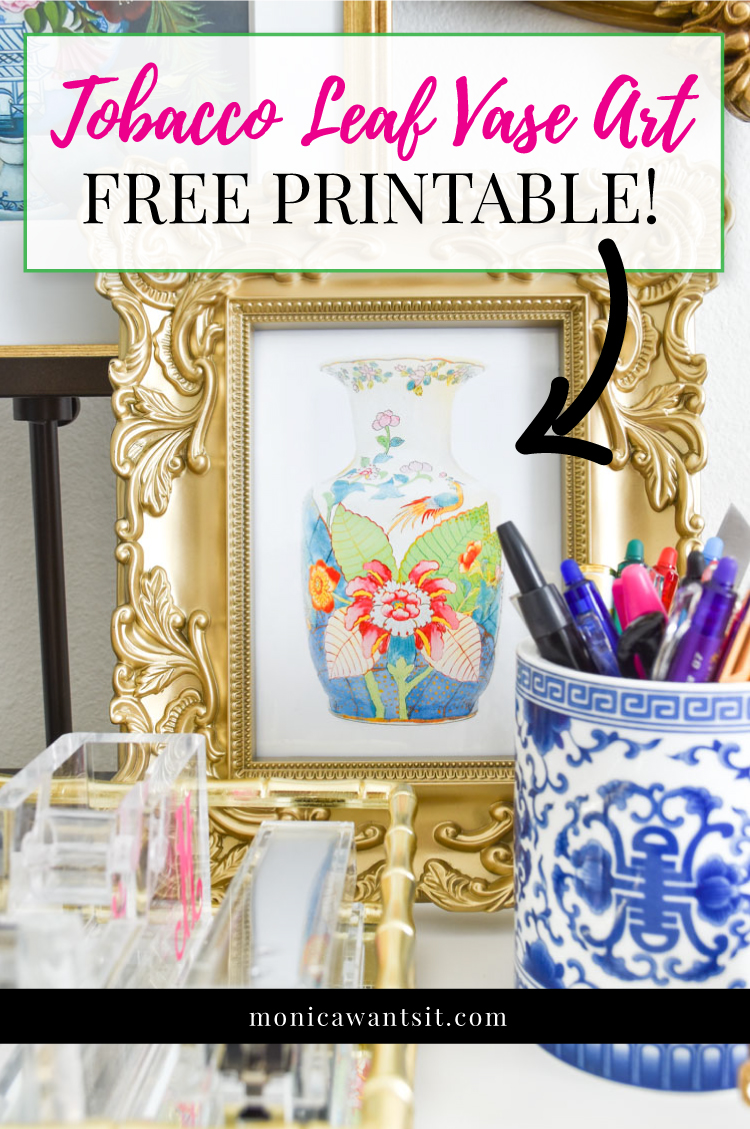 Free printable tobacco leaf vase artwork. #chinoiserie #chinoiseriechic #freeprintable #printables #freebies