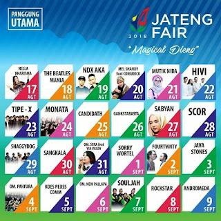 Jadwal Manggung Artis-Artis Jateng Fair 2018