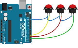 Antarmuka papan Arduino UNO dengan Saklar tekan On-Off