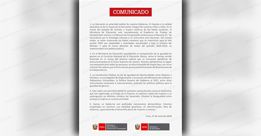 COMUNICADO MINEDU: Textos escolares que se imprimirán para el año escolar 2019 - www.minedu.gob.pe