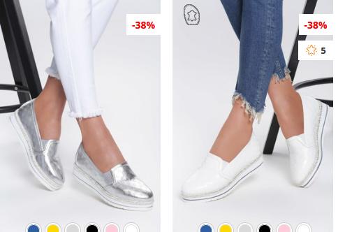 Slip-On Rhea Argintii, albi moderni ieftini