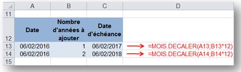sb astuces - Excel - ajouter des années à une date