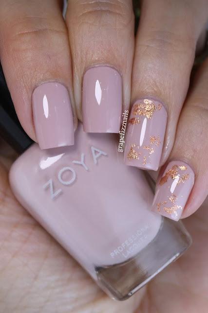 Zoya Agnes Rose Gold Foil Mani