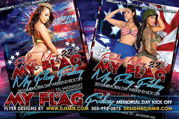 My Flag Friday Memorial Day Weekend Kickoff Party Flyer design