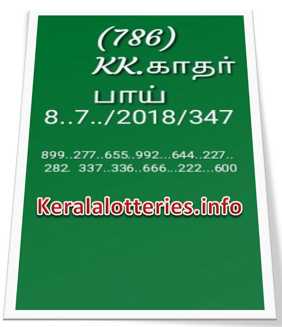 KK Kerala Lottery Guessing abc final numbers  08-07-2018 Pournami Rn 347
