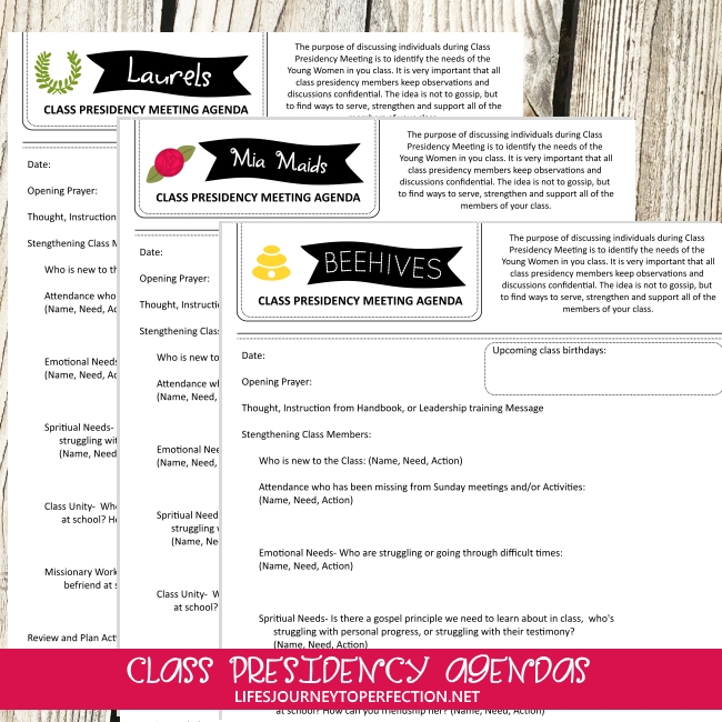 Life S Journey To Perfection Young Women Class Presidency Meeting Agendas And Newsletters