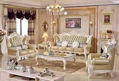 sofa tamu kulit duco putih mewah