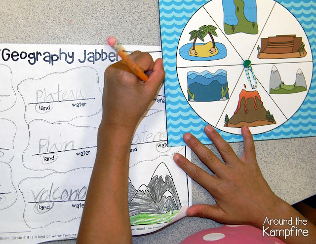 Geography Jabber landforms literacy center. Students spin a landform, determine if it is a water or land feature, then tell their partner all they know about the landform.