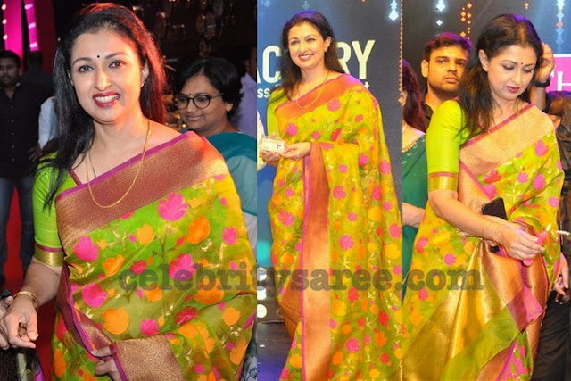 Gautami in Neon Green Kota Silk Saree