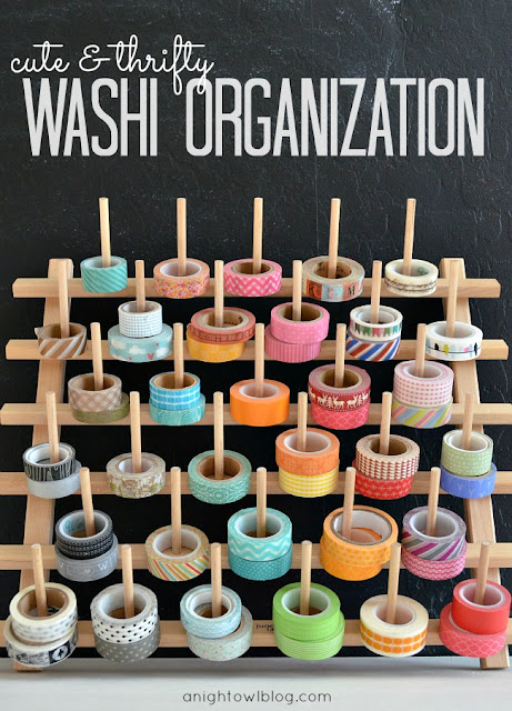 Organize washi tape with an inexpensive spool rack