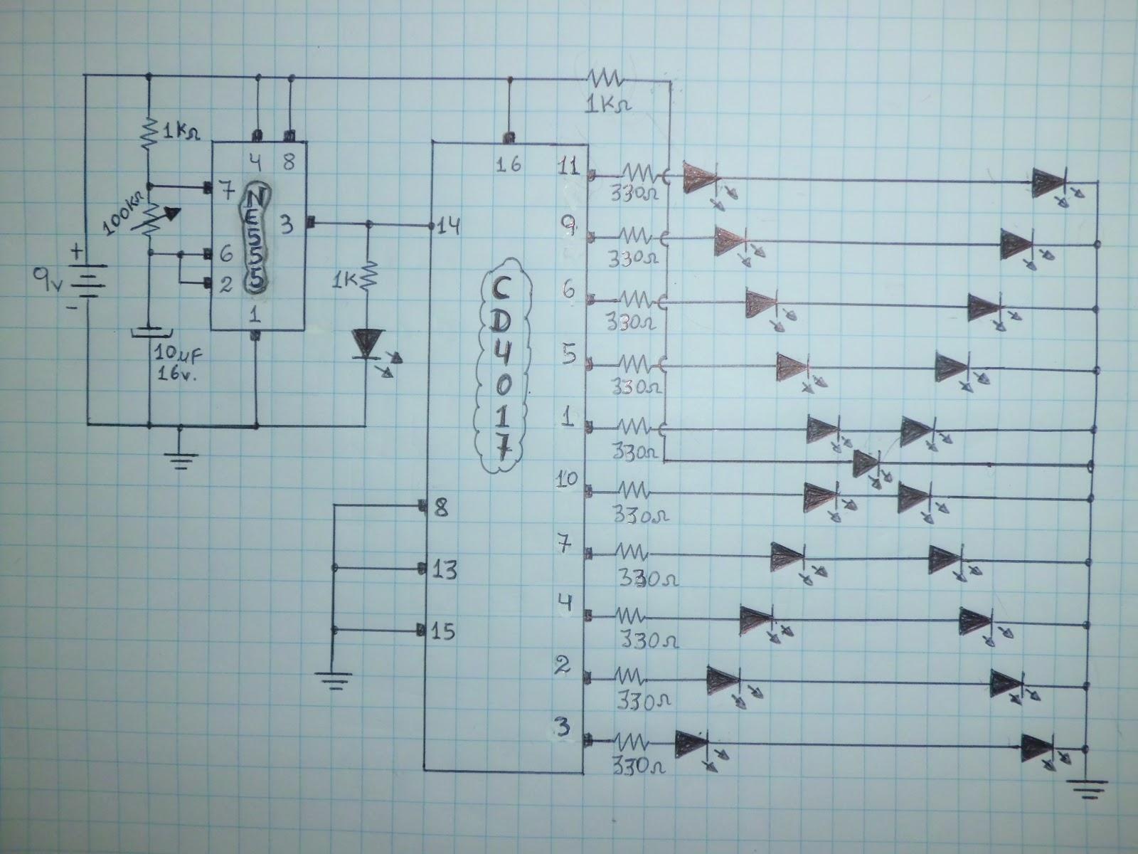 CIRCUITO SECUENCIAL DE LEDs CON EL 555 Y EL CD4017 (MUY FÁCIL)