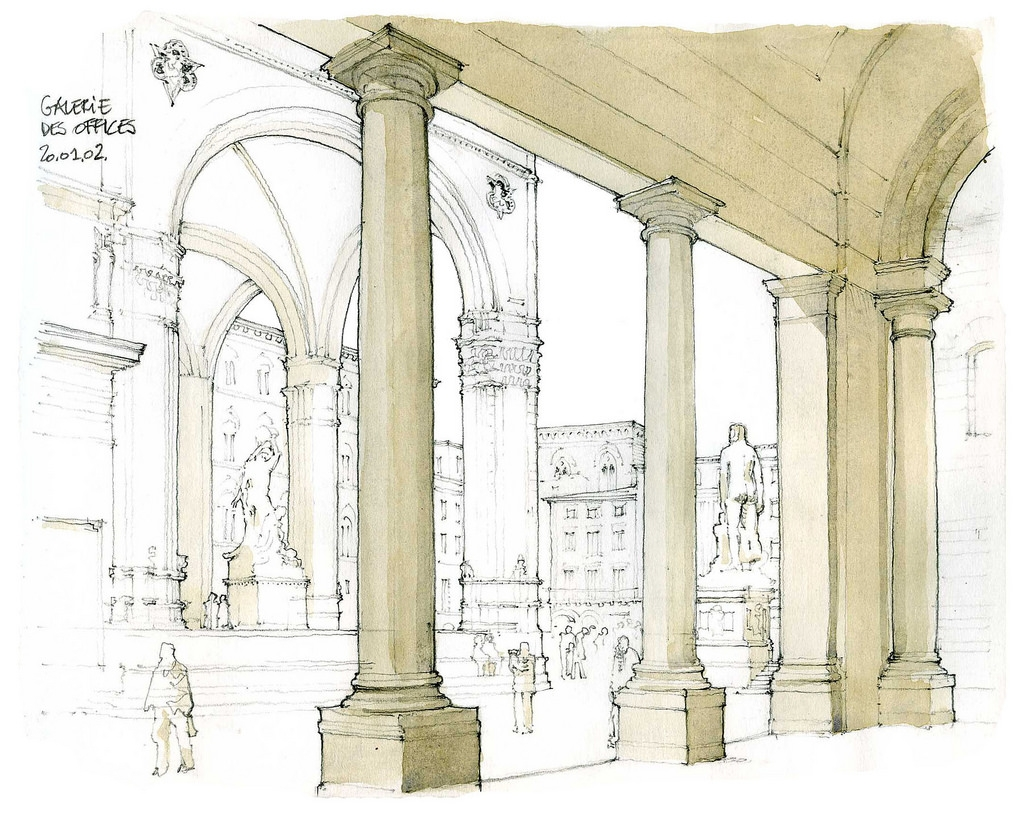 03-Florence-Gallerie-degli-Uffizi-Gérard-Michel-Italian-Urban-Sketches-to-Capture-Architecture-in-a-moment-in-Time-www-designstack-co