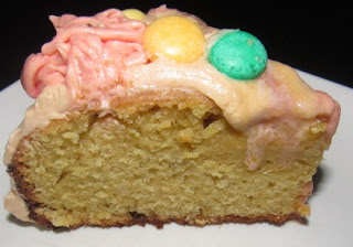 A slice of homemade birthday cake