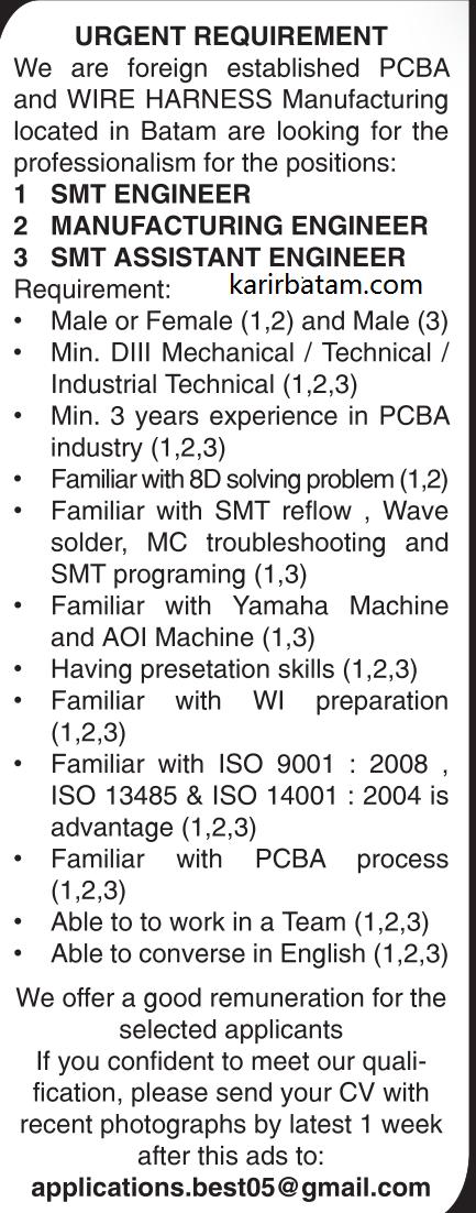 Lowongan Kerja Manufacturing and Assistant Engineer