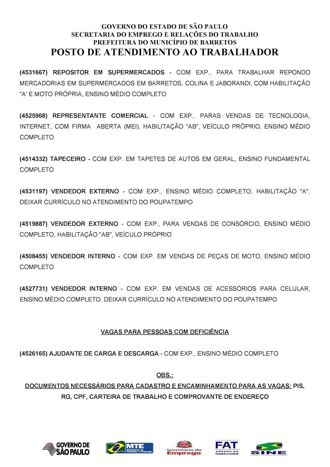 VAGAS DE EMPREGO DO PAT BARRETOS-SP PARA 09/06/2018 SÁBADO - Pag. 2