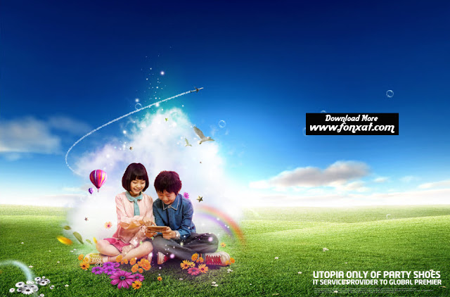 FREE PSD download : Design girl beside the boy holding a phone
