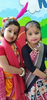 Sambalpuri Day (August 1) Kids Images with the Sambalpuri dress