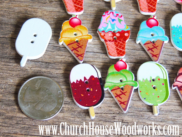 DIY Sewing Ice Cream Cone & Popsicle  Buttons by Church House Woodworks