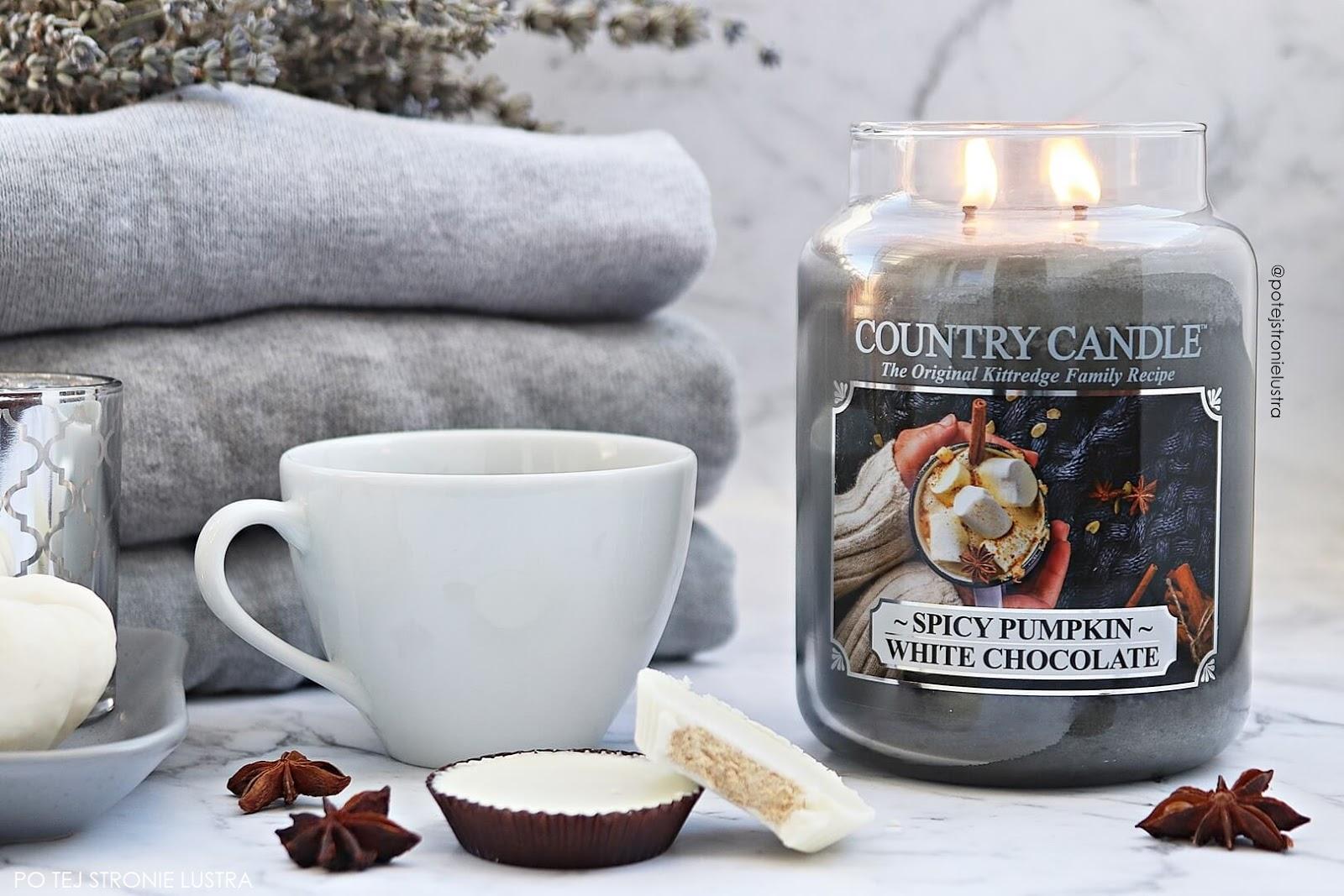 świeca zapachowa na jesień spicy pumpkin white chocolate country candle