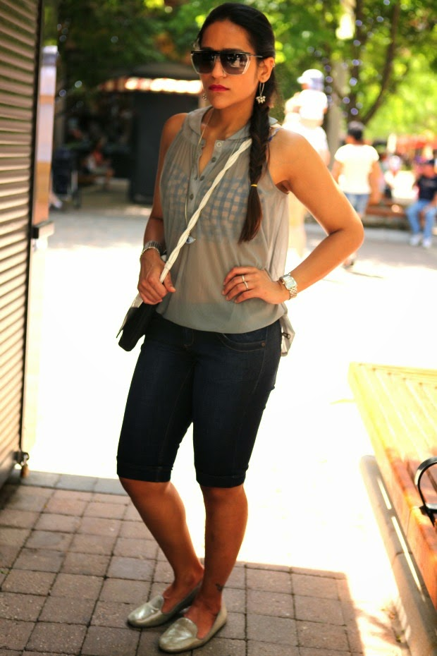 Top - Asos, Shorts - Stradivarius, Shoes - GAP, Bag - Fendi, Sunglasses - Gucci, Tanvii.com