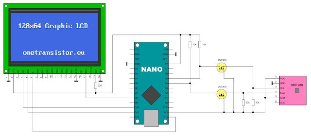 Connections of BMP280 to Arduino with level shifter and display