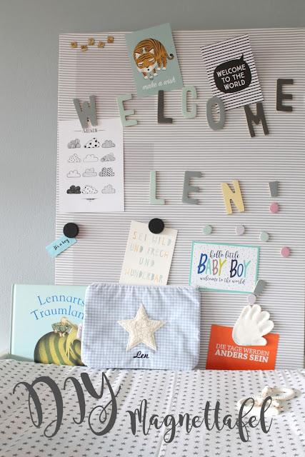 DIY Geburtskarten Magnetwand skandinavisch schwarz weiss grau pastell Babyzimmer mit tausendkind und Jules kleines Freudenhaus