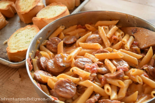 cheesy sausage and pasta skillet dinner - teaching kids to cook