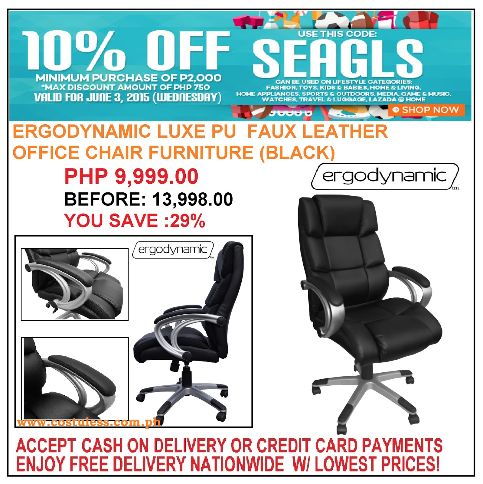 swivel chair lazada red wingback slipcover cost u less office furniture manila supplier