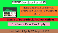 Jharkhand State Livelihood Promotion Society Recruitment 2017 – 111 Block Project Officer, Field Thematic Coordinator