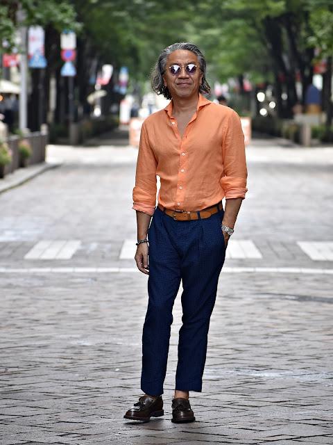 オレンジ シャツのコーディネート