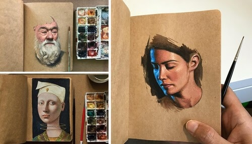 00-Raoof-Haghighi-Gouache-Acrylic-and-Watercolour-Paintings-on-a-Sketchbook-www-designstack-co