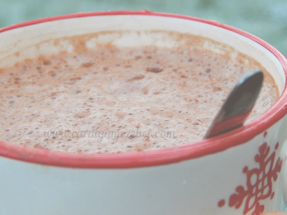 frothy hot chocolate in a mug