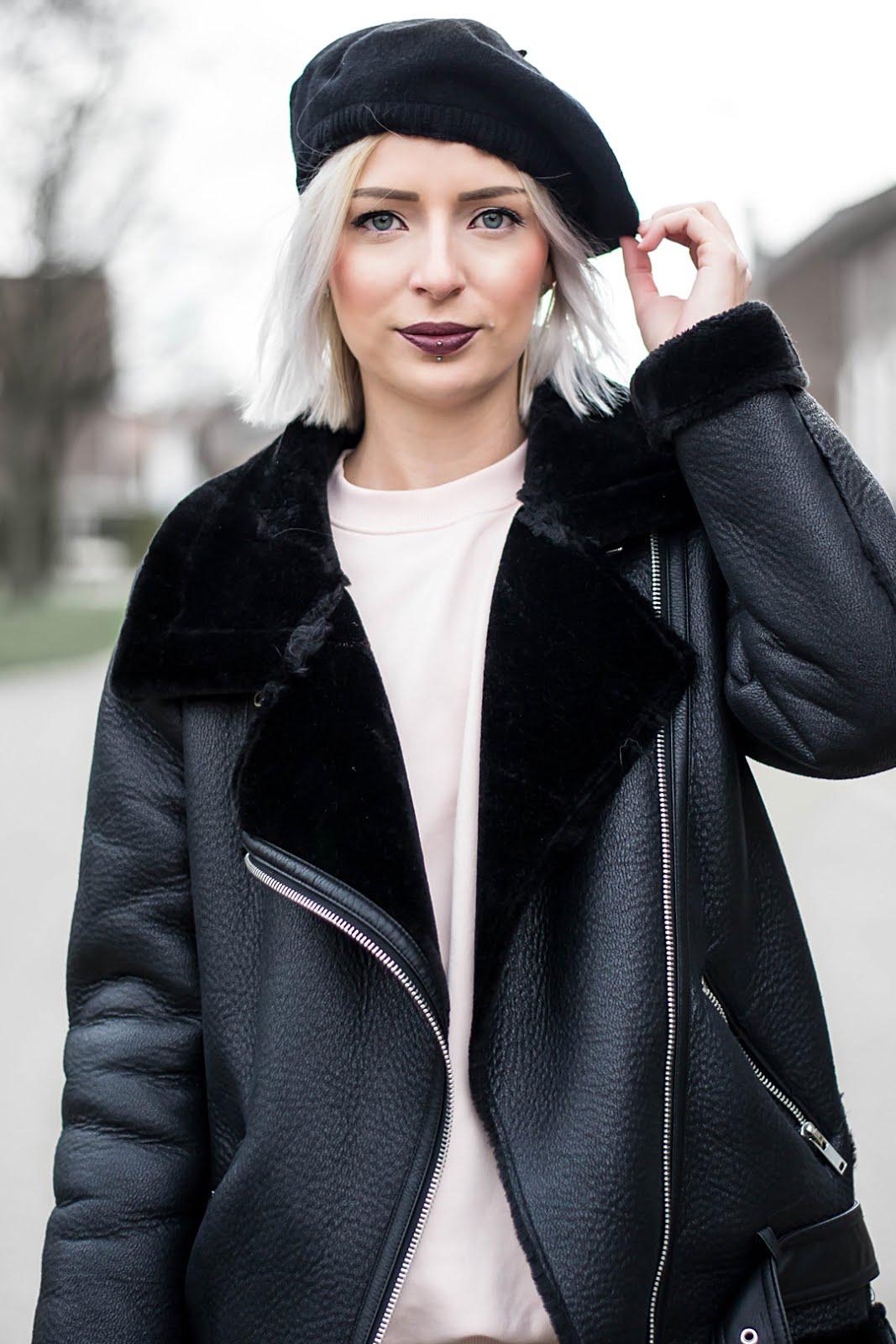 Chidora beret hat, silk, zara shearling coat, pastel pink sweatshirt