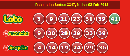 Resultados Loto Sorteo 3347 Fecha 03/02/2013
