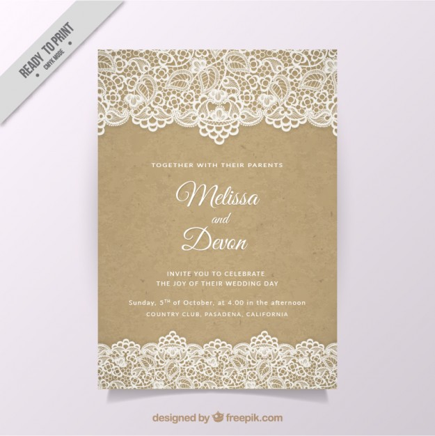 Vintage wedding invitation with lace Free Vector