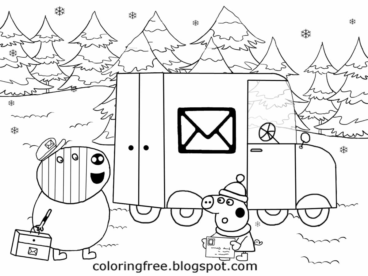 easy drawing xmas post van mr zebra letter delivery winter card christmas peppa pig coloring