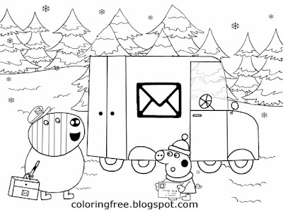 Easy drawing Xmas post van Mr. Zebra letter delivery winter card Christmas Peppa pig coloring pages