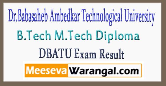 DBATU B.Tech M.Tech Diploma Exam Results 2018