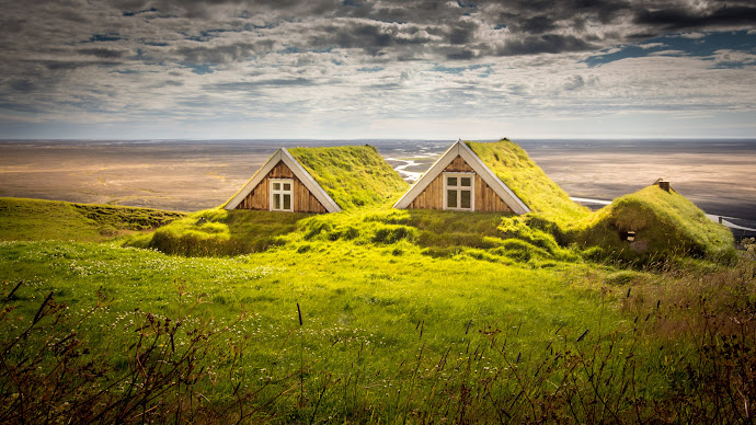 Wallpaper: Iceland Houses. Landscape. Summer