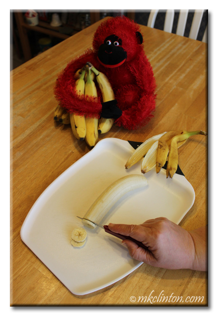 "Slice bananas 1/8"" thick for dehydrating"