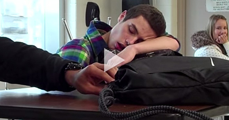 A Teacher pranks his sleeping Student