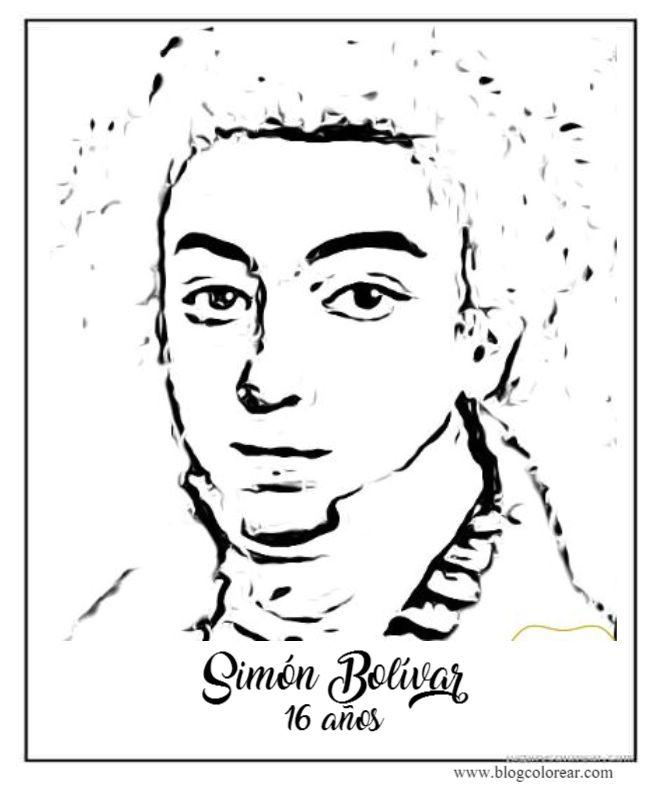 Dibujo de Simn Bolvar nio colorear y poema  Colorear dibujos