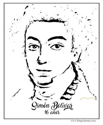 Dibujo de Simn Bolvar nio colorear y poema