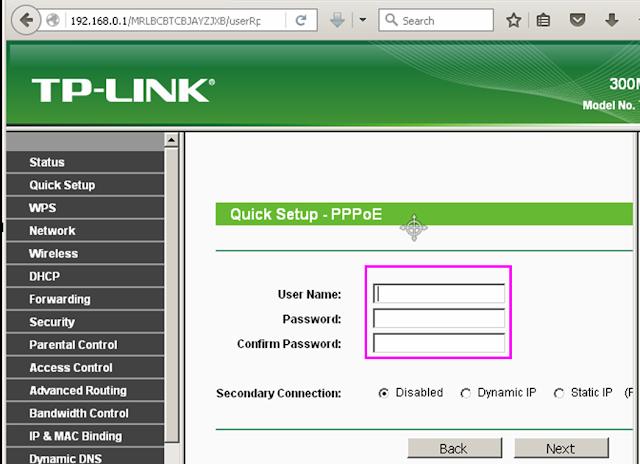 masukan username dan password PPPoE diRouter Tp-Link
