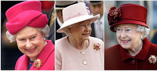 Three pictures showing Queen Elizabeth II wearing the ruby and diamond Grima brooch give to her by Prince Philip