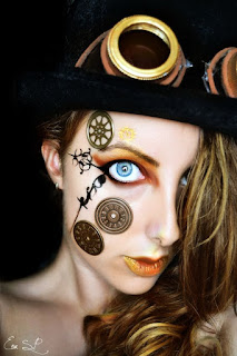 steampunk and clockpunk makeup tips and tutorials. how to get this clock face with gears