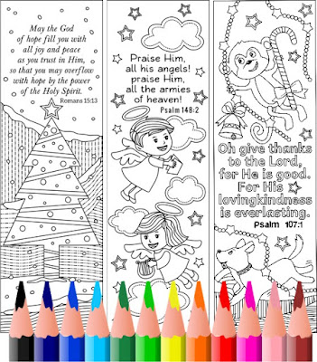 christmas coloring bookmarks for kids